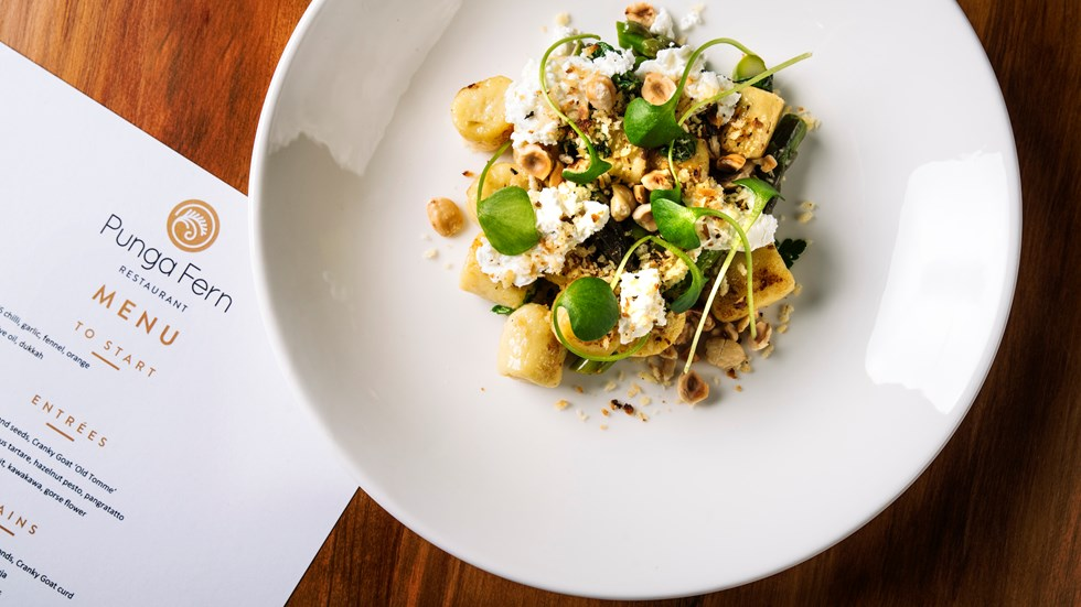 The Punga Fern Restaurant menu can include plate options like Gnocchi Agria which can be enjoyed with surrounding views of Endeavour Inlet in New Zealand's South Island Marlborough Sounds
