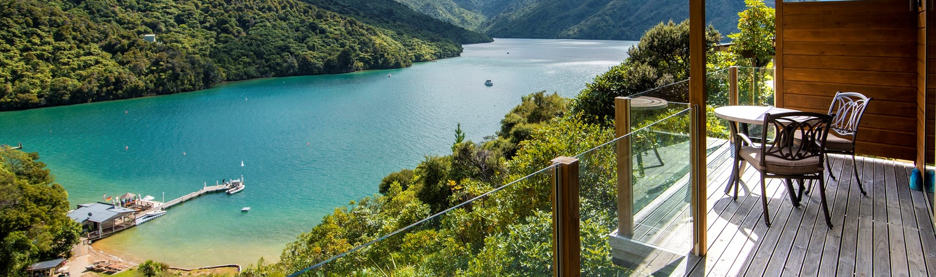 Some accommodation rooms include a private balcony with surrounding views of Punga Cove and Endeavour Inlet in the Marlborough Sounds in New Zealand's top of the South Island